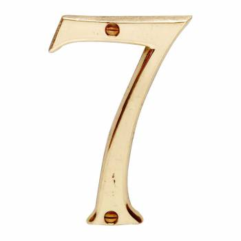 <PRE>Bright Solid Brass 3 7/8inch Address House Number '7' </PRE>zoom1