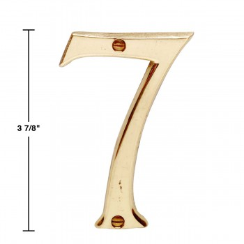 spec-<PRE>Bright Solid Brass 3 7/8&quot; Address House Number '7' </PRE>