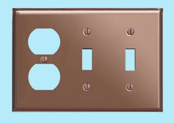 <PRE>Switchplate Bright Solid Copper 2 Toggle/Outlet </PRE>zoom2