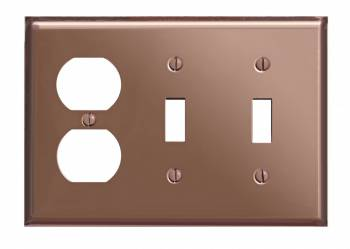 Switchplate Bright Solid Copper 2 Toggle/Outlet 96720grid
