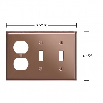 spec-<PRE>Switchplate Bright Solid Copper 2 Toggle/Outlet </PRE>