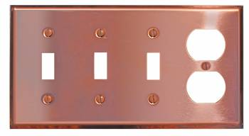 Switchplate Solid Copper Triple Toggle/Outlet 96721grid