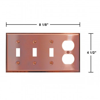 spec-<PRE>Switchplate Solid Copper Triple Toggle/Outlet </PRE>