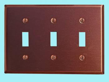 Switchplate Brushed Solid Copper Triple Toggle Switch Plate Wall Plates Switch Plates