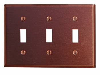 Switchplate Brushed Solid Copper Triple Toggle 96724grid