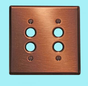 <PRE>Switchplate Brushed Solid Copper Double Pushbutton </PRE>zoom2