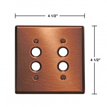 spec-<PRE>Switchplate Brushed Solid Copper Double Pushbutton </PRE>