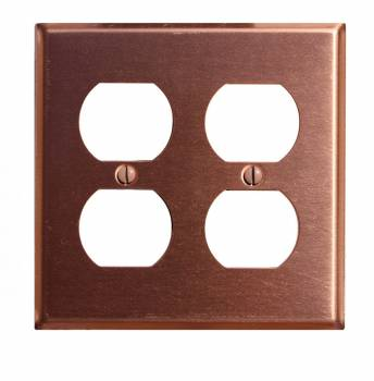 Switchplate Brushed Solid Copper Double Outlet 96730grid