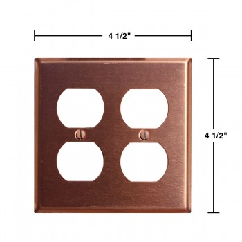 spec-<PRE>Switchplate Brushed Solid Copper Double Outlet </PRE>