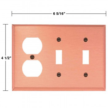 spec-<PRE>Switchplate Brushed Copper Double Toggle/Outlet </PRE>