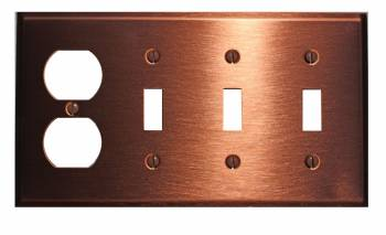 Switchplate Brushed Solid Copper 3 Toggle/Outlet 96732grid