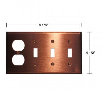 spec-<PRE>Switchplate Brushed Solid Copper 3 Toggle/Outlet </PRE>