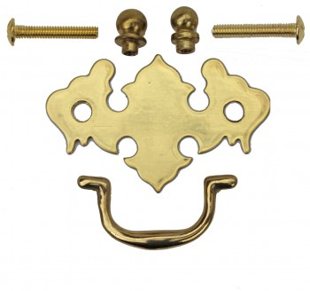 <PRE>Chippendale Bail Pull Bright Solid Brass 2 7/8inch </PRE>zoom3
