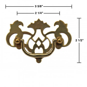 spec-<PRE>Chippendale Bail Pull Bright Solid Brass 2 1/4&quot;  </PRE>