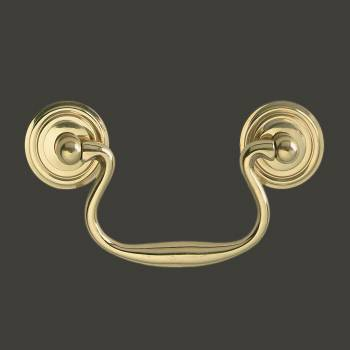 Bright Solid Brass Classic Bail Pull Ring Rosettes 3 Furniture Hardware Cabinet Pull Cabinet Hardware