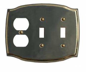 Switchplate Bright Solid Brass Double Toggle/Outlet 96961grid