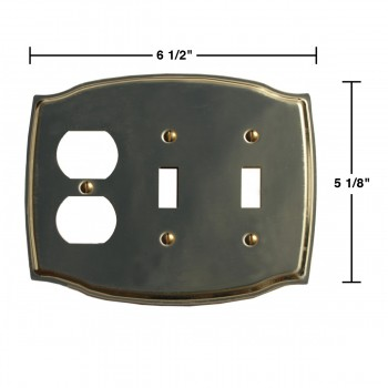 spec-<PRE>Switchplate Bright Solid Brass Double Toggle/Outlet </PRE>
