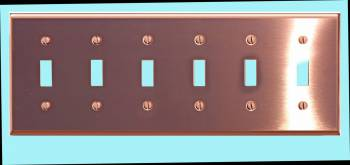 Switchplate Bright Solid Copper Six Toggle Switch Plate Wall Plates Switch Plates