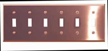 Switchplate Bright Solid Copper Six Toggle 96964grid