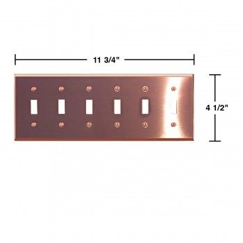 spec-<PRE>Switchplate Bright Solid Copper Six Toggle </PRE>