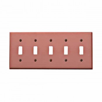 Switchplate Brushed Solid Copper Five Toggle 96966grid