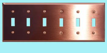 <PRE>Switchplate Brushed Solid Copper Six Toggle </PRE>zoom2