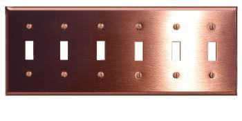 <PRE>Switchplate Brushed Solid Copper Six Toggle </PRE>zoom1