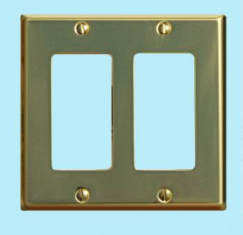 Switchplate Bright Solid Brass Double GFI outlet plate Wall Plates Switch Plates