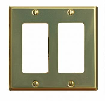 Switchplate Bright Solid Brass Double GFI 96972grid