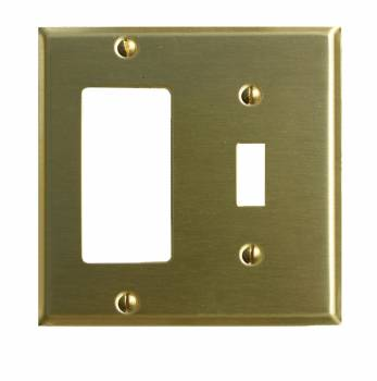 Switchplate Brushed Brass GFI Toggle 96975grid