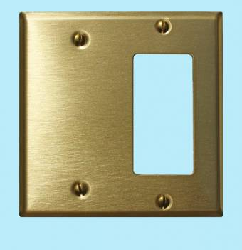 <PRE>Switchplate Brushed Solid Brass GFI Blank </PRE>zoom2