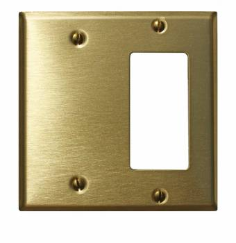<PRE>Switchplate Brushed Solid Brass GFI Blank </PRE>zoom1