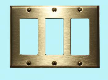 <PRE>Switchplate Brushed Solid Brass Triple GFI </PRE>zoom2