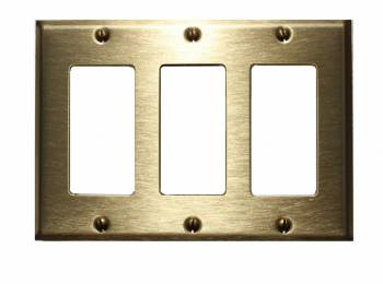<PRE>Switchplate Brushed Solid Brass Triple GFI </PRE>zoom1