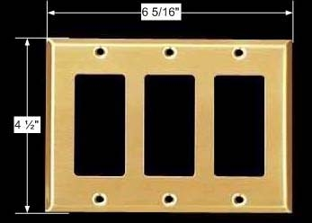 spec-<PRE>Switchplate Brushed Solid Brass Triple GFI </PRE>