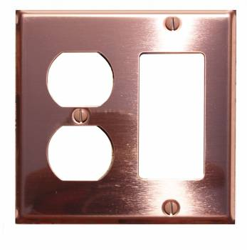 Switchplate Bright Solid Copper GFI Outlet 96979grid