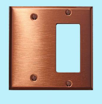 <PRE>Switchplate Brushed Solid Copper GFI Blank </PRE>zoom2