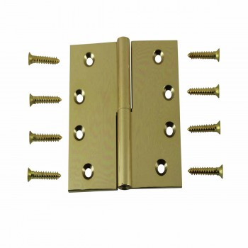 4 Lift Off Right Brass Door Hinge No Finial