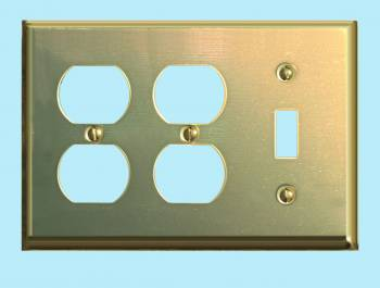 Switchplate Bright Solid Brass Double OutletToggle Switch Plate Wall Plates Switch Plates