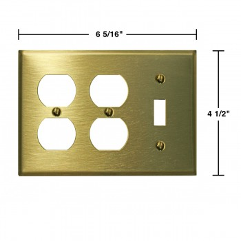 spec-<PRE>Switchplate Brushed Solid Brass Toggle Double Outlet </PRE>