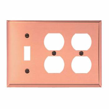 Switchplate Bright Solid Copper 2 Outlet/Toggle 97206grid