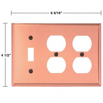 spec-<PRE>Switchplate Bright Solid Copper 2 Outlet/Toggle </PRE>
