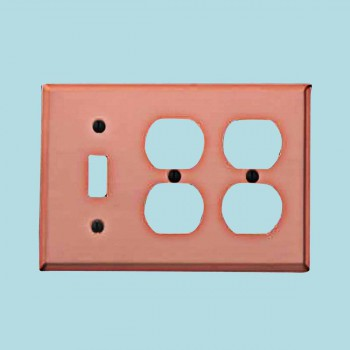 <PRE>Switchplate Brushed Solid Copper Toggle 2 Outlet </PRE>zoom2