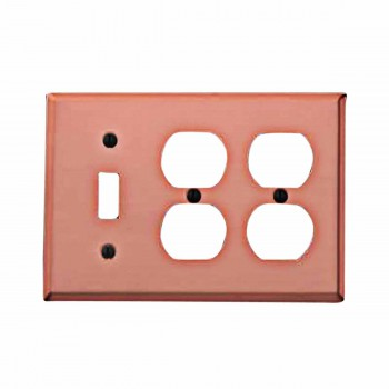 Switchplate Brushed Solid Copper Toggle 2 Outlet 97207grid