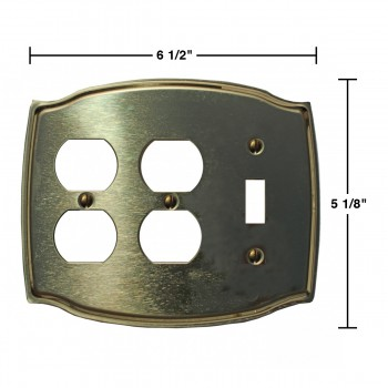 spec-<PRE>Switchplate Bright Solid Brass Toggle/Double Outlet </PRE>