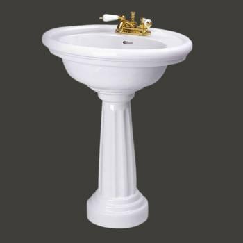 <PRE>White China Philadelphia Bathroom Freestanding Pedestal Sink Oval 4inch Centerset </PRE>zoom2