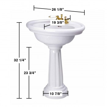spec-<PRE>Renovator's Supply White Philadelphia Bathroom Freestanding Pedestal Sink</PRE>