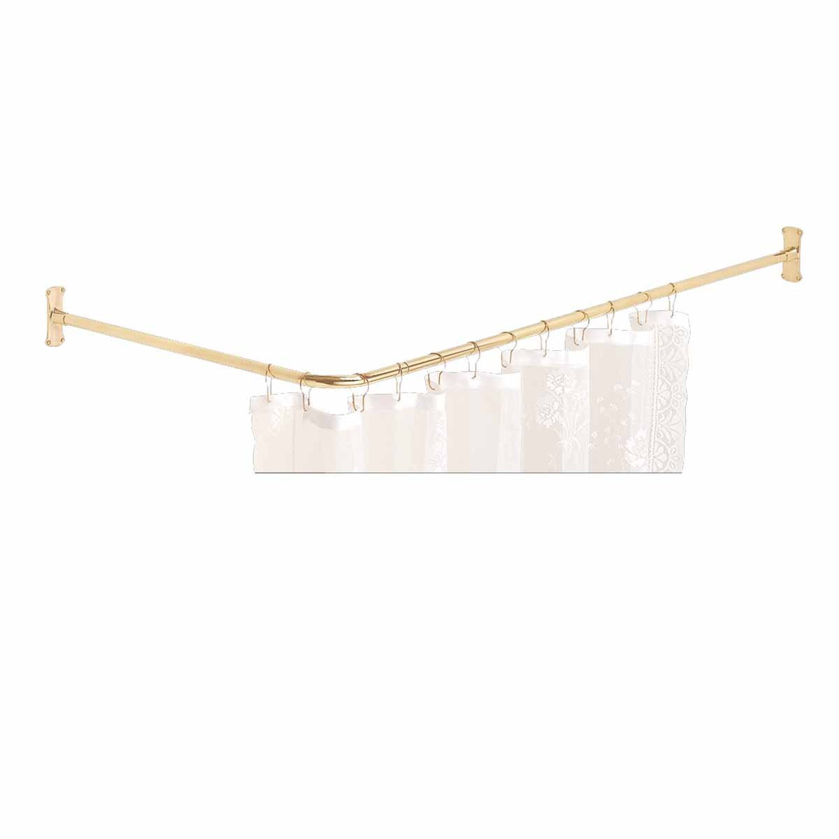 PREShower Curtain Rod Bright Solid Brass 2 Sided