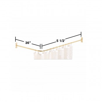 spec-<PRE>Shower Curtain Rod Bright Solid Brass 2 Sided </PRE>