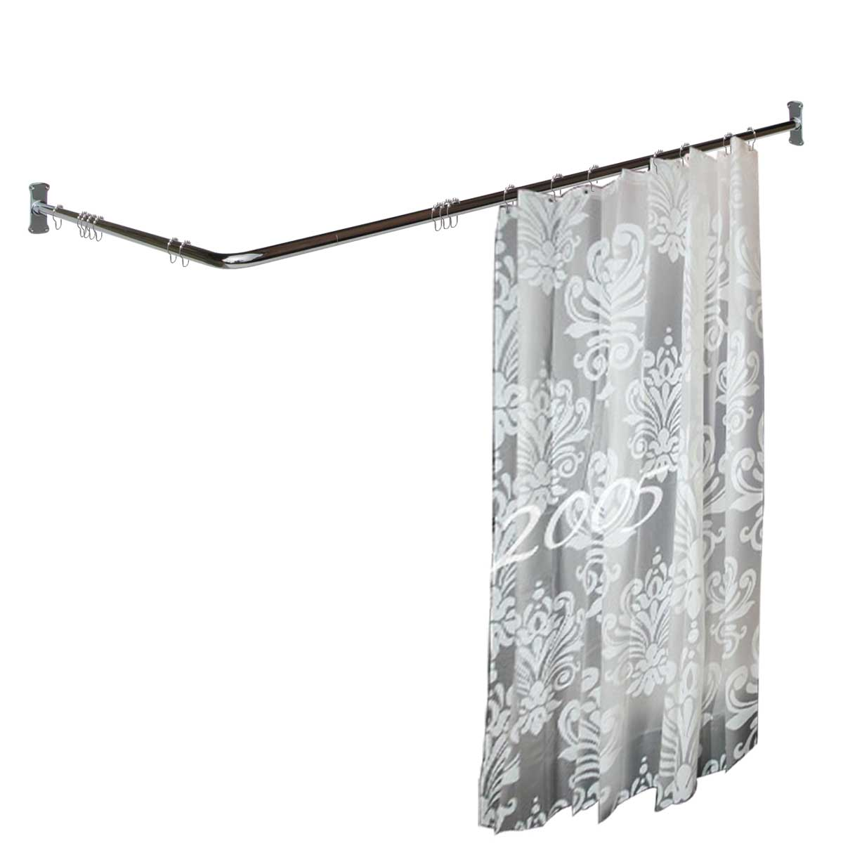 PRETwo Sided Shower Curtain Rod Chrome Plated Brass 7 8inch Dia
